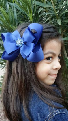 Gorgeous royal blue stacked boutique bow or headband $8