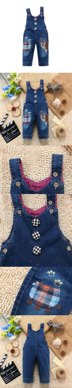 2015 Autumn Baby Girl Clothes Cartoon Cotton Buttons Women Denim Overall Dress Spring Set Baby Rompers High Quality 10-24 Month