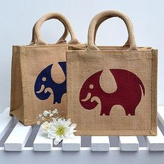 This cute miniature version of the full size jute bag makes an ideal lunch bag for children and grown ups alike! Also ideal for party bags, wedding favours, or just for storing your bits and pieces in the office or home. Jute Lunch Bags, Jute Bags, Elephant Love, Elephant Rings, Giraffe, Cushion Cover Designs, Party Bags, Printed Bags, Design Crafts