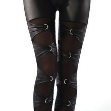 lady sexy punk rock metal leggings gothic lace up leggings night bar club ring cross legging fake leather riveet pant (China)