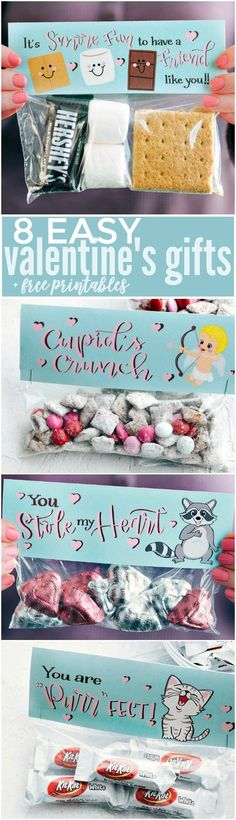 The CUTEST Valentine's Day Gifts -- so easy to make and FREE PRINTABLE bag toppers!