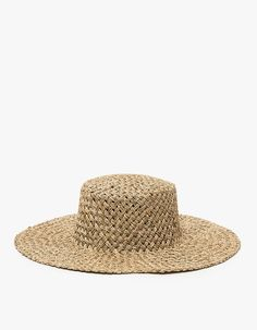 From Lack of Color, a natural seagrass woven sun hat with structured boater crown and wide brim.  • Woven sunhat in Natural • Boater crown • Wide brim • Structured shape • Head band • 100% straw • Spot clean