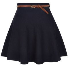Navy Knitted Belted Skater Skirt ($12) ❤ liked on Polyvore featuring skirts, blue mini skirt, circle skirt, navy circle skirt, navy blue circle skirt and navy skirt