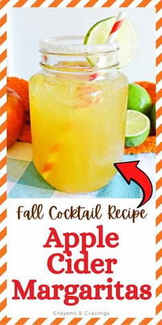 These Apple Cider Margaritas made with apple cider, tequila, triple sec, and a splash of lime juice will be your favorite Fall cocktail. Apple Cider Cocktail, Cider Cocktails, Hot Apple Cider, Fall Cocktails, Holiday Drinks, Margarita Recipes, Cocktail Recipes, Apple Recipes, Fall Recipes