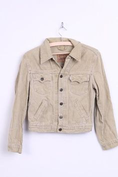 Levi Strauss & Co. Womens S Corduroy Jacket Beige Single Breasted Cotton - RetrospectClothes