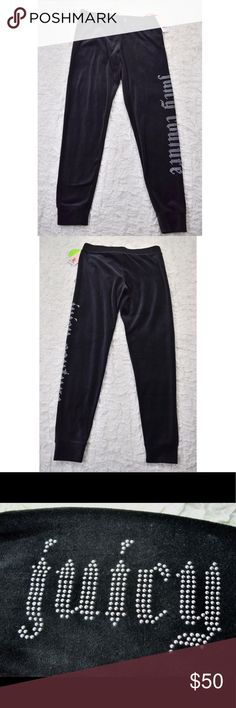 "Juicy Couture black velour jogging pants Adorable Juicy Couture jogging pants💕Brand new with tags💕Size XS💕81% cotton, 19% polyester💕Drawstring waist💕Silver Juicy bling in side of pant leg💕Inseam is 29.25""💕Small hanger marks on waistband...they will most likely fade after washing💕Smoke and pet free home Juicy Couture Pants Track Pants & Joggers"