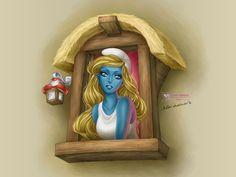 Smurfette by daekazu on DeviantArt Smurf Village, Disney Divas, Smurfette, Anime Child, Sexy Cartoons, Girl Cartoon, Character Illustration, Disney Art, Cool Drawings