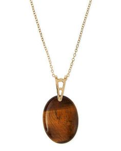Jules Smith  Long Oval Pendant Necklace, Amber
