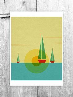 Sunset Boats Kids Wall Art Digital Children Nursery Poster Illustration Blue Red Yellow Boat Giclee Print