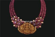 ... Crafted in 22Kt Gold with Flat Cut Diamonds and Ruby Cabochon beads