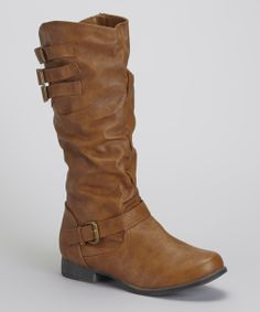 Tan Slouchy Buckle Boot