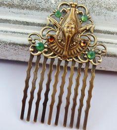 Kleiner Haarkamm in bronze mit Pharao Ägypten von Schmucktruhe, €16.50