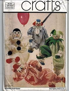Decorative Craft Clowns / Original Simplicity Crafts Sewing Pattern 5259 by…