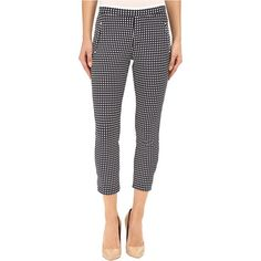 HUE Checkered Knit Capris (Navy) (30 AUD) ❤ liked on Polyvore featuring pants, capris, navy, capri pants, elastic waist capri pants, knit pants, elastic waist capris and navy blue pants
