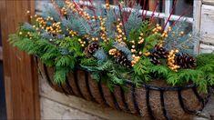 How To Make A Winter Window Basket - Garden Lovers Club Christmas Planters, Christmas Arrangements, Outdoor Christmas, Winter Christmas, Flower Arrangements, Winter Window Boxes, Window Box Plants, Winter Planter, Seasonal Decor