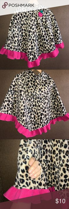 Hooded poncho w/ arm access Cheetah print. Too cute! Hooded cheetah print poncho with bright pink ruffle trim. Armhole access and flower embellishment. Size 5-6 L. mack & co Jackets & Coats Capes