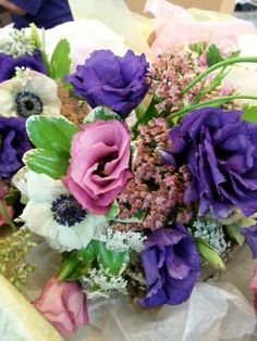 Summer Garden Wedding, lisianthus, anemone, Autumn Joy sedum, scabiosa pods, dusty miller. Great for Bridesmaids Scabiosa Pods, Dusty Miller, Summer Garden, Here Comes The Bride, Garden Wedding, Bridesmaids, Floral Design, Floral Wreath, Joy