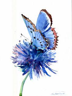 Mariposa azul de la flor azul Acuarela original pintura 12 X