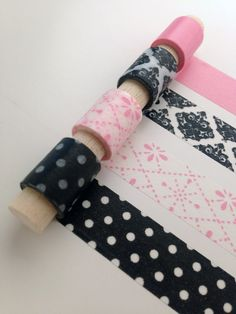 Girl About Town Washi Tape Set - Such a cute variety of patterns in light pinks and blacks!