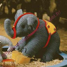 Avec de la laine: Tuto 2 éléphants tricotés