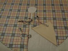 59 Large Christmas Tree Skirt Plaid Cotton & Burlap by MilaStyle