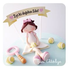 Tennis player cake topper