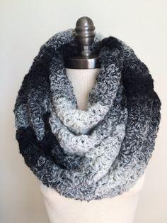Chunky Infinity Scarf Crochet Scarves Black & by RavensMoonDesigns