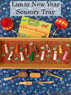 Lunar New Year Sensory Tray | Nanny Anita| My Baba Sensory Bins, Sensory Activities, Sensory Play, Educational Activities, New Years Activities, Activities For Kids, The Great Race, Calander, Small World Play
