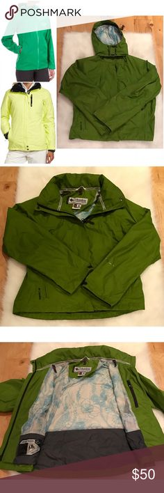 "EUC Columbia Titanium Interchangeable Jacket In excellent pre-loved condition jacket from Columbia in size medium. Features tons of pockets in front and hidden pockets inside, cute Floral detail on the lining, hidden hoodie that can be worn or tuck in, waterproof Windbreaker like jacket. No flaws. Measure about 22.5"" length, 19.5"" bust, 28"" sleeves. ❌Model pics is similar style and is for visual aids only. Actual jacket are the last three pics above. ❌No trades or modeling. Open to offers…"