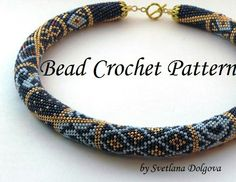 Pattern for bead crochet necklace Gold monogram by DolgovaSvetlana Crochet Necklace Pattern, Beaded Necklace Patterns, Bead Crochet Patterns, Bead Crochet Rope, Crochet Designs, Beading Patterns, Beaded Crochet, Jewelry Patterns, Bracelet Patterns