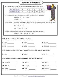 Lesson: Roman Numerals Worksheet