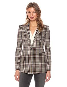 """A plaid blazer with a polished silhouette and single button closure       Famous Words of Inspiration...""""Boxing is just show business with blood.""""   Frank Bruno — Click here for more from Frank...  More details at https://jackets-lovers.bestselleroutlets.com/ladies-coats-jackets-vests/casual-jackets/product-review-for-theory-womens-power-jkt-2hl-jacket-vest/"""