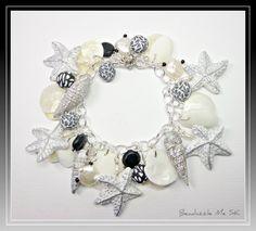 Black & White Starfish Florida Shell Bracelet by BeadazzleMe, $30.00