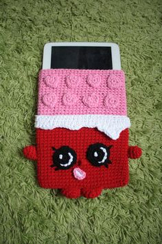 Shopkins Cheeky Chocolate Tablet cover Crochet by Crochetkins