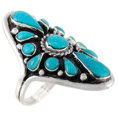 Sterling Silver Ring  Genuine Turquoise