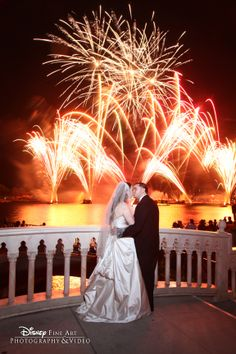 """What's more romantic than watching IllumiNations: Reflections of Earth after saying """"I do""""? #Disney #wedding #Epcot. Photo: Mike, Disney Fine Art Photography"""