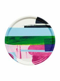Vattenblänk- tray by Marimekko. Design by Astrid Sylwan. Kitchenware, Tableware, Round Tray, Nordic Design, Marimekko, Crate And Barrel, Interior Decorating, Interior Design, House Design