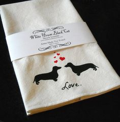 Dachshunds in Love Tea Towel Dachsund Art by whitehouseblackcat, $18.00