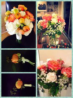 Ranunculus Wedding Flowers. Center pieces, bouquet and boutonnière. Design by Estreyita Serrano