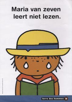 """Poster """"Maria van zeven leert niet lezen"""", 1995"""