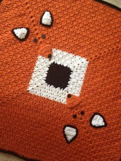 Fox crochet blanket, custom made blanket, orange baby blanket by KiddoCreation on Etsy