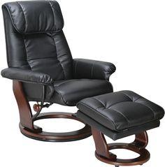 Living Room Furniture   Dixon Black Reclining Chair U0026 Ottoman