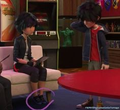 """The feet of GoGo don't touch the floor and Hiro is like""""woah how cute is that?"""""""