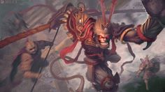 Monkey King Creates Havoc In Heavenly Palace, #Character, #Conceptual, #Drawings, #Illustration