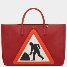 Ebury Maxi Featherweight Men At Work Bag In Red Capra Leather by Anya Hindmarch for Preorder on Moda Operandi Red Tote Bag, Tote Purse, Tote Handbags, Tote Bags, Anya Hindmarch Handbags, Bag Closet, Shopper Bag, Pop, Leather Bag