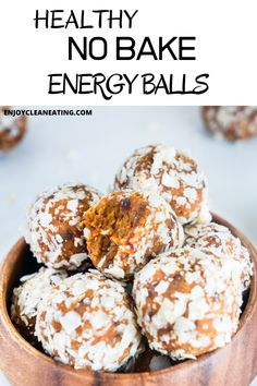 This healthy protein-packed no-bake energy balls recipe is a quick healthy snack perfect for a snack during the week. All you have to do is throw all the ingredients into a food processor, blend, form into balls, and enjoy your Baked Recipes Snacks, Cooking Recipes, No Bake Energy Bites, Energy Balls, Healthy Party Snacks, Healthy Treats, Healthy Muffins, Healthy Protein, Sweet Potato Pancakes