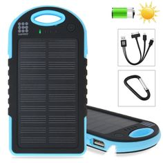 HAWEEL 4000mAh Double USB Power Bank Solar Charger with LED Flash Light for iPhone 6 & 6 Plus / Samsung Galaxy Note 5 / Note 5 Edge / HTC and Other Mobile Phones(Blue)