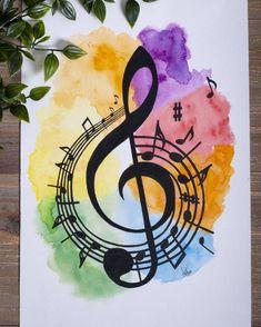 Giclée Print Treble clef music watercolour, vibrant rainbow watercolour, music room decor, birthday gift for musician, A5 A4 A3 Print