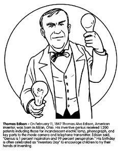 Thomas Edison coloring page
