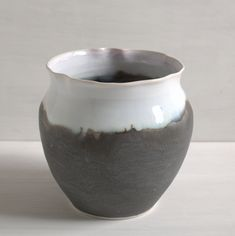 Porcelain wheel-thrown vessel form with delicate wavy rim. Glazed to bring to mind the early morning landscape. 4 H, Porcelain, Delicate, Collections, Ceramics, Landscape, Hall Pottery, Pottery, Porcelain Ceramics